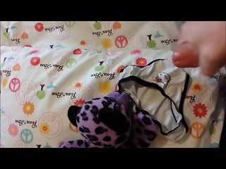 Cumming on her hello kitty panties, stuffed animal, and pillow on her bed