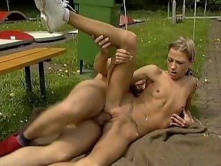 Skinny Blonde Anorexic Teen Fucked Outdoor