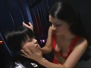 Japanese Lesbian bound tongue kiss