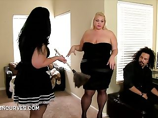 Chunky Maid fucked by her bosses BF
