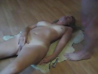 husband cums over masturbating mature wife