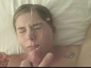 Pretty blonde gf gets throat fucked, licks ass, gets facial