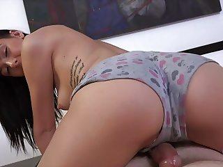 Brunette Marley Brinx Jerking Off a Cock