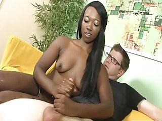 Next-door Black girl jerking her neighbour