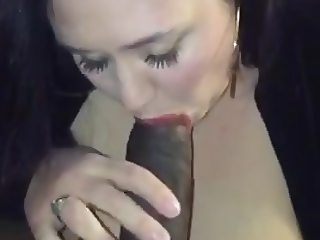 Chubby brunette blows bbc