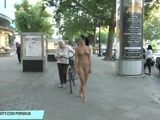 Naughty babe nicole vice naked on public streets