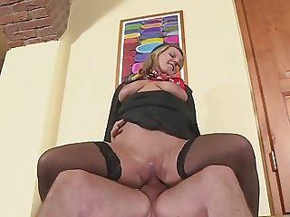Hostess Luci Angel fucking in black stockings