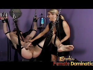 Mistress Nicolette has no mercy for her helpless skinny