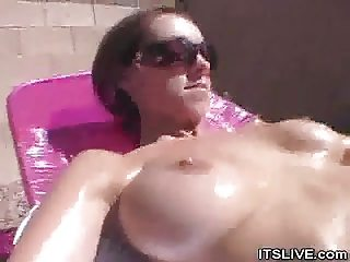 Tanning Out Busty ExGF Mandy