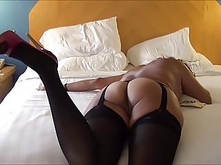 HANDJOB FOR ASIAN MILF IN BLACK LINGERIE