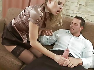 Tight blonde slut in black stockings gets fucked