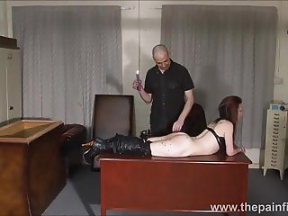 Kinky leather slave Fae Corbins amateur bdsm and hot wax