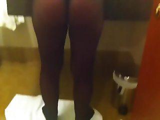 escort with black pantyhose