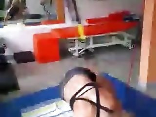 German Tennis Player Laura Siegemund training in underwear