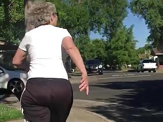 Plump Butt GILF with Curly Grey Hair