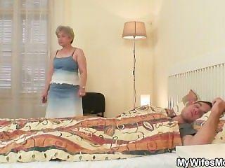 She fucks her son in law as he sleeps