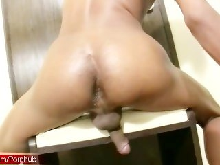 Erotic chick with dick takes thick cock deep in her mouth