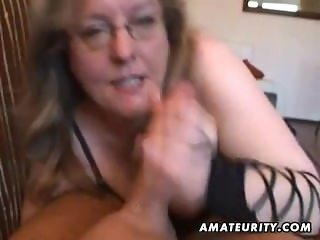 Busty amateur wife handjob and blowjob with cum in mouth - SEXCAM888.COM
