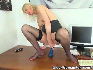 British milf secretary Tracey Lain rather masturbates than do accounting