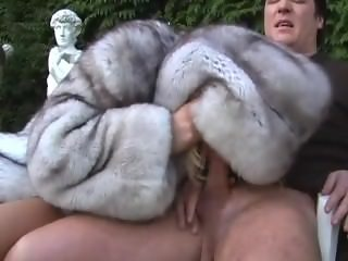 Blowjob hooded fur coat