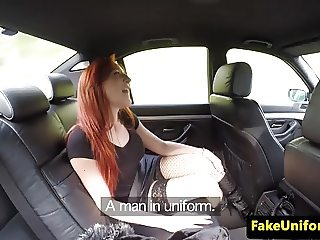 Ginger detainee buttfucked in car by copper