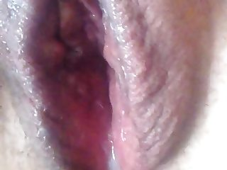 Dildo fucking my shaved pussy and coming