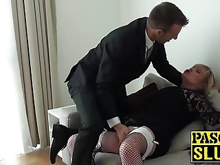 Chubby MILF Alisha sucks and rides stiffed prick on sofa