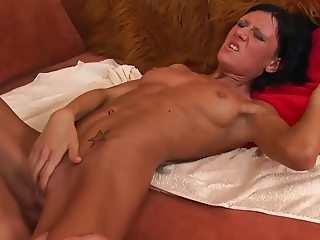 Short haired fit brunette takes it in the ass.