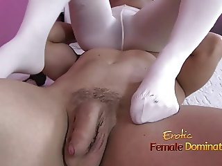 High heal and white stockings in this foot fetish video