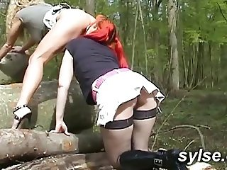 Threesomes in forest ( Flashing with MILFs and Teens )