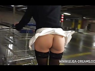 Upskirt and Flashing no panties in a parking
