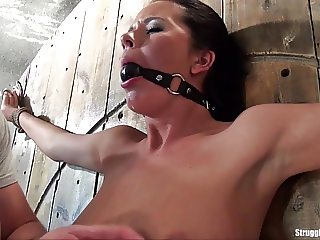 Mia bound spread-eagle ballgagged slowly vibed to orgasm