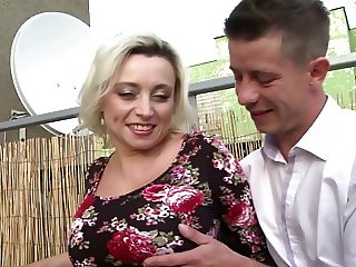 Mature mother with big tits fuck young stud