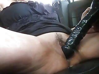 Cumming in car
