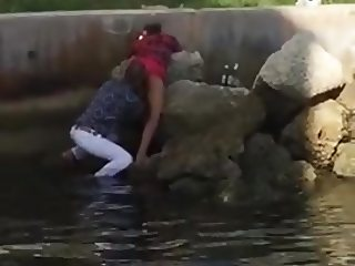 Caught LOvers Pussy Licking near Pond