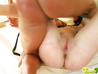 Tamed Teens Innocent Bianca is untied to service their cocks