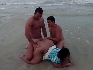 fat chick on beach