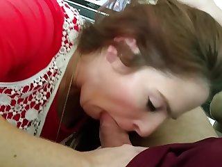 Auburn haired MILF Carla loves to suck cock