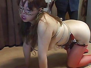 Voluptuous Japanese BDSM leash walking hot wax on big butt