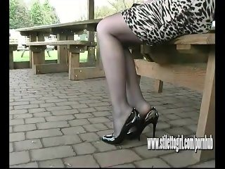 Sexy stiletto girl Jenna walks sexually in erotic pair of high heel shoes