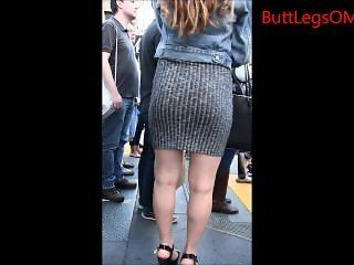 Candid Brunette in Miniskirt