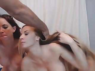 Big Tit Blonde and her Busty Brunette GF Share One Big Dick