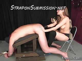 Beautiful topless Mistress humiliates and fucks him