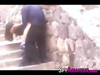 Spying a young Mexican Couple having outdoor Sex