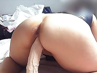 My big ass wife fucks a monster dildo. (cum tribute her)
