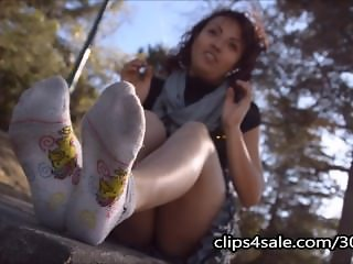 Sexy Latina showing off dirty socks and feet fetish