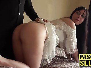 Hot raven haired babe gets spanked hard