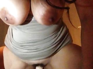 Big Titted babe Riding Her Dildo