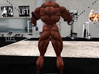 Muscle girl workout in Second Life