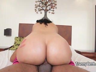 Pink stockings tranny banging big black cock